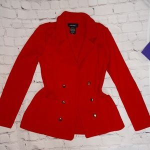 Red sweater knit blazer